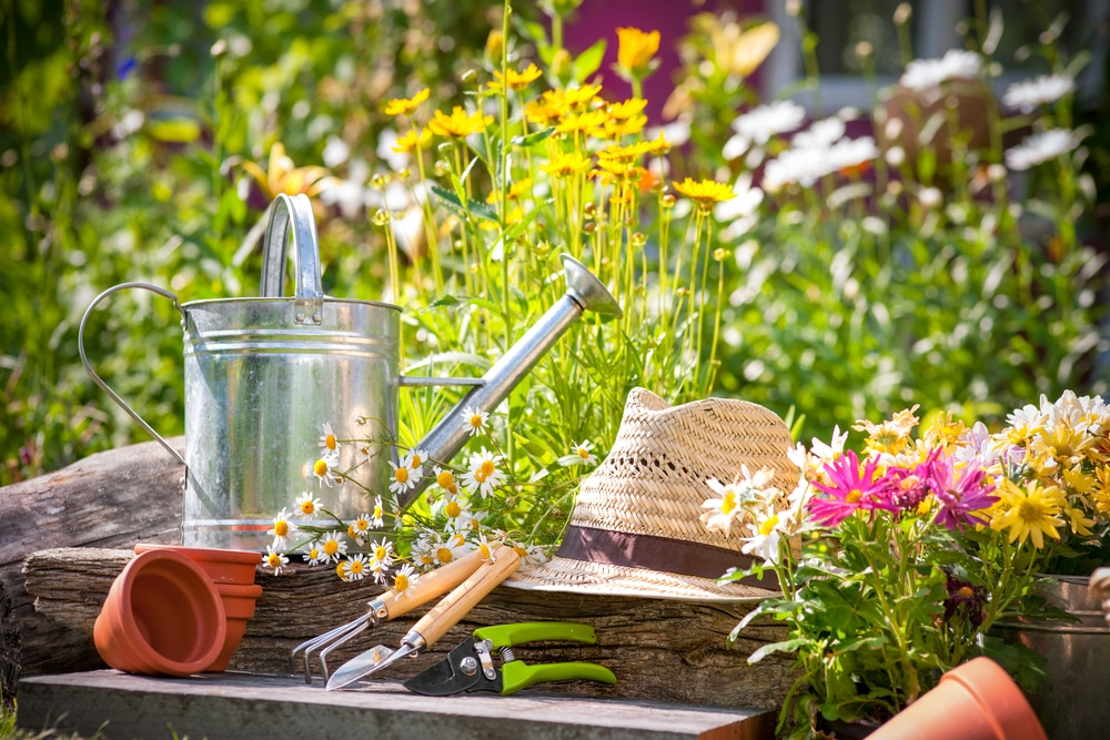 Gardening supplies in front of spring flowers